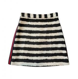 MSGM Linen Blend Striped A-Line Skirt