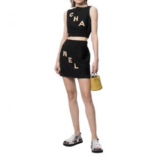 Chanel Letters Intarsia Knit Sleeveless Top & Skirt
