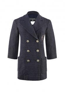 Chanel iconic navy/black tweed jacket/blazer with metallic CC logo