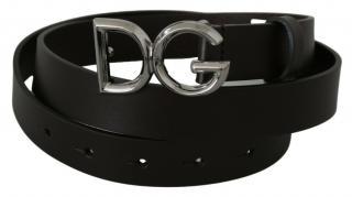 Dolce & Gabbana Black Leather DG Belt - Size 90