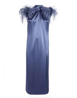 16Arlington Yoshina Feather Trimmed Satin Midi Dress