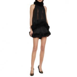 Saint Laurent Feather-trimmed silk cr�pe top & shorts