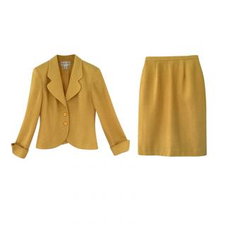 Christian Dior Vintage Yellow Boucle Wool Skirt Suit