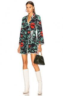 Rixo Oriental Sky Print Silk Mini Wrap Dress