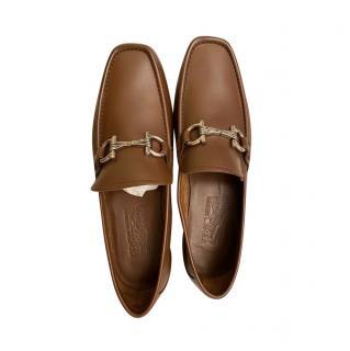 Ferragamo Brown Leather Horsebit Loafers