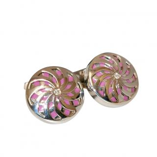 William & Son pink enamel detail silver cufflinks