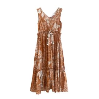See by Chloe Brown & Beige Palm Print Dress