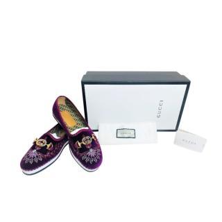 Gucci Purple Velvet Zumi Marmara Loafers