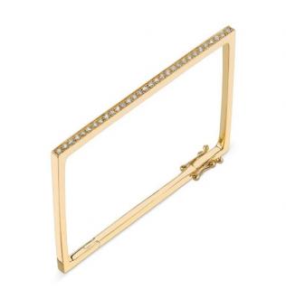 Sydney Evan 14ct Yellow Gold Pave Diamond Rectangle Bracelet