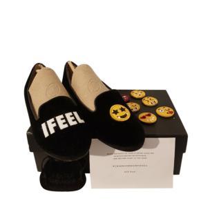 Chiara Ferragni Black Velvet Emoji Loafers