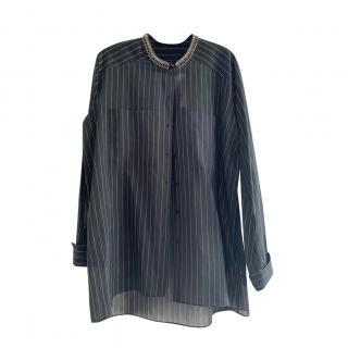 Dorothee Schumacher Black & White Striped Embellished Tunic