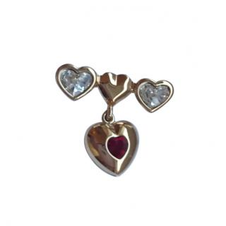 Valentino Garavani Vintage Crystal Hearts Pin Brooch