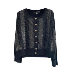 Karl Lagerfeld Sequin Stripe Knit Cardigan