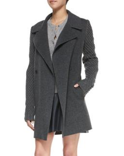 Vince Grey Double Breasted Wool Blend Coat