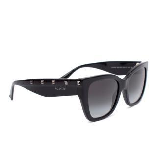 Valentino Garavani Black Rockstud Cat Eye Sunglasses