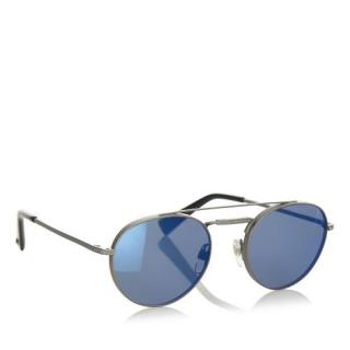 Valentino Metal/Blue Tinted Round Sunglasses