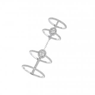 Messika 18ct White Gold Glam'azone Double Pave Diamond Double Ring