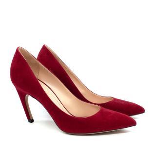 Dior Cherry Red Suede D-Heel Pumps