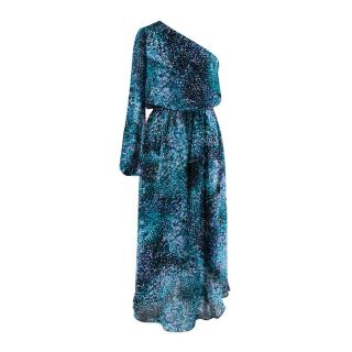 Ramy Brook One Shoulder Blue Patterned Dress