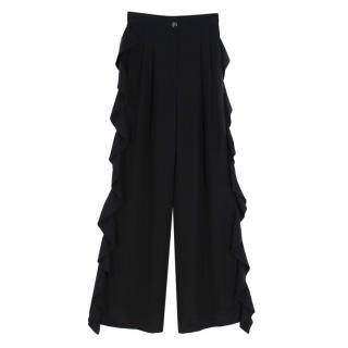 Chanel Black Wide Leg Silk Ruffled Trousers SS21