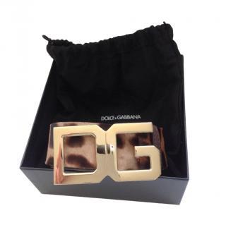 Dolce & Gabbana Leopard Print DG Belt - Size 85