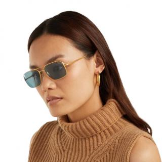 Oliver Peoples x The Row Victory LA Square Blue Sunglasses