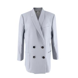 Fendi Woven Wool & Mohair Blue-Gray Double Breasted Oversize Jacket