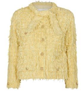 Chanel 21' Yellow Fringed Tweed Pussy Bow Blazer