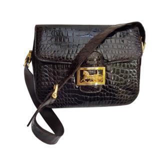 Celine Vintage 70's Glossy Crocodile Carriage Box Bag