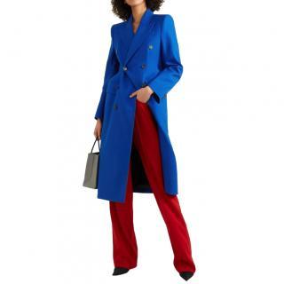 Balenciaga Blue Wool Double Breasted Hourglass Coat