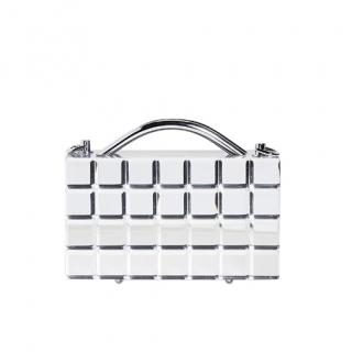 L'Afshar Silver Mirror Lou Lou Clutch with Chain
