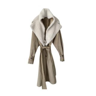 Sharon Wauchob Shearling Lined Cotton Trench Coat