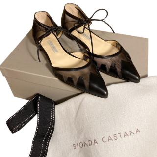 Bionda Castana Leather & Mesh Lace-Up Denni Flats