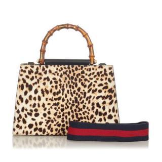 Gucci Nymphaea Leopard Print Pony Hair Bamboo Top Handle Bag