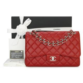 Chanel Red Quilted Caviar Leather Jumbo Double Flap Bag
