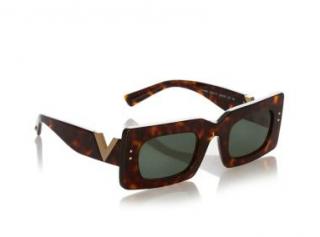 Valentino Square Tortoiseshell V-Cut Sunglasses
