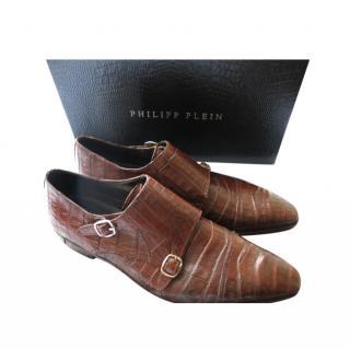 Philipp Plein Brown Crocodile Double Monk Shoes
