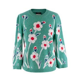 Chanel Green Floral Intarsia Cashmere Sweater