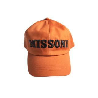 Missoni Orange Canvas Embroidered Logo Baseball Cap