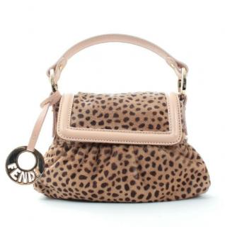 Fendi Leopard Pony Hair Top Handle Mini Chef Bag