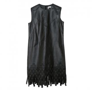 Versace Collection Black Grommet Detail Fringed Leather Dress
