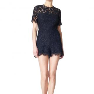 Veronica Beard Navy Floral Lace Playsuit