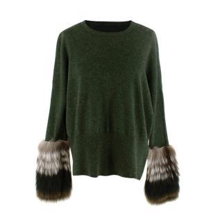 Izaak Azanei Fur Cuff Green Sweater