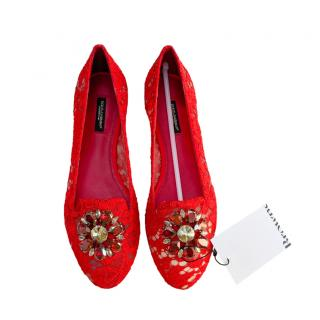 Dolce & Gabbana Red Lace Crystal Embellished Flats