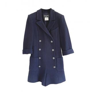 Chanel Blue Tweed Double Breasted Playsuit