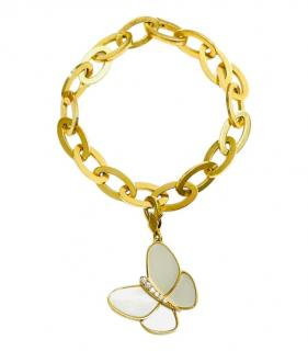 Van Cleef & Arpels Mother of Pearl & Diamond Butterfly Charm Bracelet