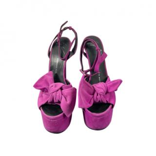 Giuseppe Zanotti Purple Suede Bow Detail Platform Sandals