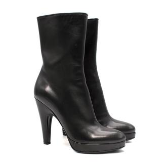 Prada Black Leather Platform Ankle Boot