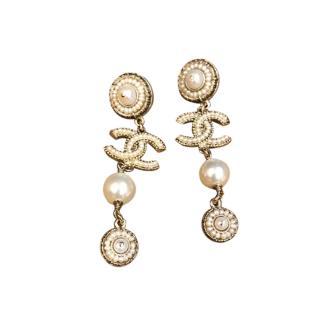 Chanel Gold Tone Faux Pearl CC Drop Earrings