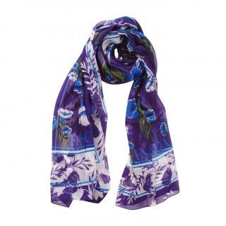 Escada Purple Floral Print Silk Scarf
